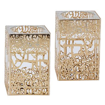 """Crystal And Gold Tealight Candle Holder 3""""H X 2""""W"""