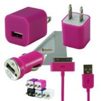 Rasfox Pink Tiny Home Power Adapter, Car Charger & USB Cable For Apple iPhone 4S 4 3GS 3G, iPod Touch 1/2/3/4/5 ,Nano, Video, Classic and more