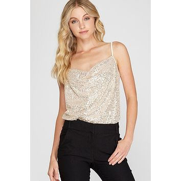 Shine By Me Champagne Sequin Cowl Neck Bodysuit