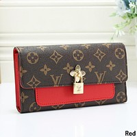 LV Louis Vuitton Women Leather Multicolor Wallet Purse Red