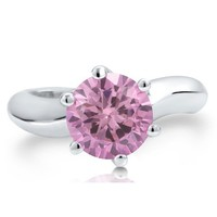 Sterling Silver 925 Round Cut Pink Cubic Zirconia CZ Solitaire Ring #r460
