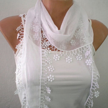 White Bridal Scarf Wedding Shawl, Cotton Scarf, Cowl with Lace Edge Flowers