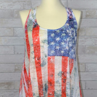 Flag Shark Bite Sublimation Burnout Tank-Rhinestones-Urban X