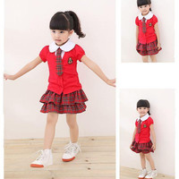 Children Clothes 2014 New Girls Red plaid College Wind Suit Baby girl Short sleeve shirt+Tie + skirt 3 pc set. BaBy Sets baby Clothing.