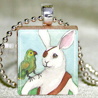 Scrabble Tile Pendant - Scrabble Tile Jewelry - Pirate Bunny Scrabble Pendant with Necklace and Matching Gift Tin