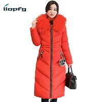 Brand 7XL Ladies Winter Cotton 2017 Large Size Hooded High Imitation Fox Fur Collar Red Lady Jacket Long Paragraph coat WM537