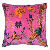 """16""""X16"""" Pink Decorative  Accent Cheap Velvet Pillow Cover on RoyalFurnish.com"""