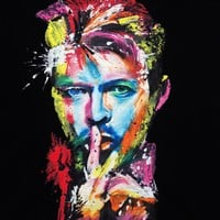 DAVID BOWIE NEON T-shirt WEARABLE ART Colorful Painted 3d
