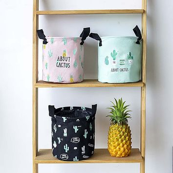 Nordic Cactus Printed Home Storage Basket Bedroom Folding Container Pouch Bag