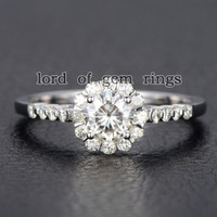 Round 5mm Moissanite Engagement Ring,14K White Gold,Floral Filigree Wedding Band