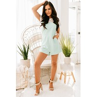 Back In Business Overall Romper (Mint)