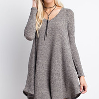 Apparel- Best Seller Ribbed V Neck Sweater Dress with Pockets