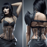 Artifice Products - Clear PVC underbust Corset with painted boning