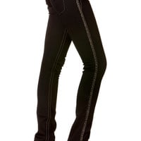 Miss Me Side Seam Pattern Embroidery Skinny In Black Jeans