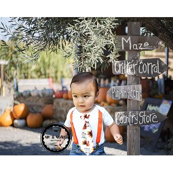 Baby Boy Outfits for Thanksgiving Gobble Tie with Suspenders