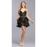 Black Sequins Short Dress with Detachable TIered Skirt