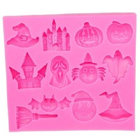 Hot Selling Halloween Pumpkin witch hat castle Bat broom Silicone Mold Fondant DIY cake Decorating Tools   E586