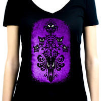 Haunted Mansion Wallpaper Ghoul Women's V-Neck Shirt Top Alternative Clothing