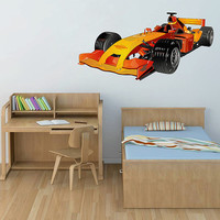kcik188 Full Color Wall decal car racing formula race speed ring children's bedroom