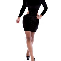 Sexy Womens Black Cut Out Waist Bodycon Party Cocktail Mini Dress