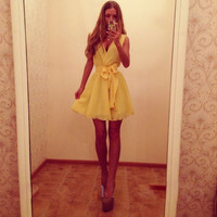 Casual Sleeveless V-Neck Ribbon Tie Waist Mini Dress
