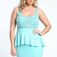 PLUS SIZE BUSTIER PEPLUM DRESS
