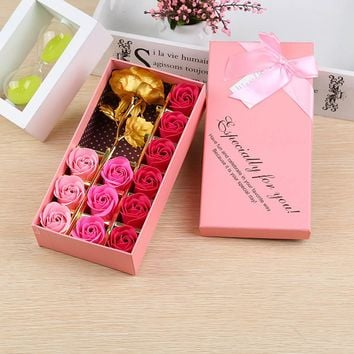14pcs Artificial Rose Soap Flowers Set in Gift Box for Romantic Wedding Party Favor Creative Birthday Gifts Souvenirs