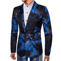 Latest Style Men Cotton Ink Painting Printed Long Sleeves Lapel Suit Jacket
