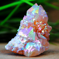 40 Gram Cactus Spirit Quartz Rainbow Aura Crystal Cluster point Z5334