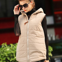 Plus Size Thick Vest Knit Stitching Hooded Waistcoat