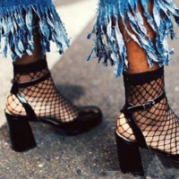 Hot Black Fishnet Ankle Socks