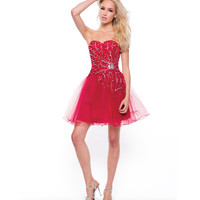 2013 Prom- Red Firework Short Prom Dress - Unique Vintage - Cocktail, Pinup, Holiday & Prom Dresses.