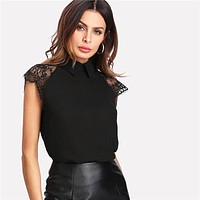 BAD IN BLACK LACE SLEEVES TOP