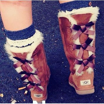 UGG Hot Selling Classic Short Snow Boots Casual Three Bowknot High Top Warm Boots Shoes