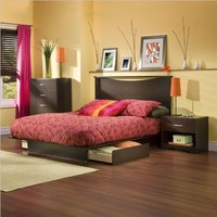 South Shore Bedroom Set Step One Collection, Chocolate, 4-Piece