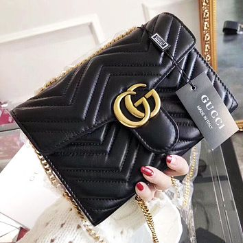 GUCCI High Quality Women Leather Metal Chain Crossbody Satchel Shoulder Bag