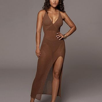 Women Hollow Out Backless Cover Up Knitted Maxi Dress