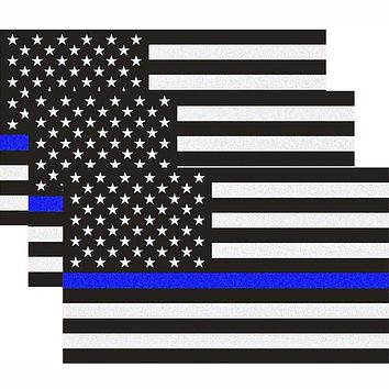 Reflective US Flag Decal Packs with Thin Blue Line for Cars & Trucks, 5 x 3 inch American USA Flag Decal Sticker Honoring Police Law Enforcement 3M Vinyl Window Bumper Tape (3-Pack) 3-pack