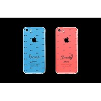 Beauty and Beast Patterned Matching Clear Phone Cases (Set)