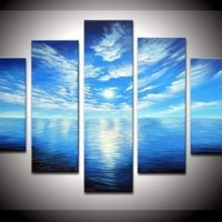 100% Hand-painted Wood Framed on the Back Artwork Blue Ocean White Clouds Ready to Hang Wall Decor Landscape Oil Painting on Canvas 5pcs/set Mixorde