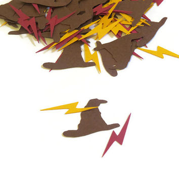 Harry Potter Party Supplies - Sorting Hat and Lightning Scars Confetti - 100 Pieces