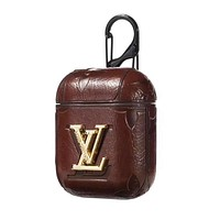 LV Fashion Popular AirPods Bluetooth Wireless Earphone Case Protector (No Headphones) Coffee
