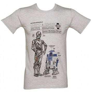 Men's Grey Marl Haynes Manual Star Wars C3PO And R2D2 Star Wars T-Shirt : TruffleShuffle.com