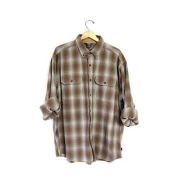 Vintage wool flannel Woolrich plaid shirt Olive green Cream Blue grunge shirt tomboy work shirt Button Up oversized men's  XL