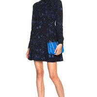 Valentino Butterfly Printed Georgette Dress in Navy | FWRD