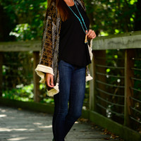 Aztec Fringe Cardigan, Black/Tan