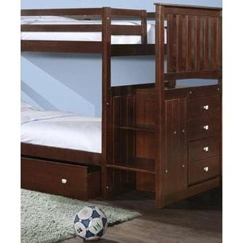 Xander Cappuccino Bunk Bed with Stairs & Storage