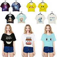 High Quality Punk Harajuku Style 3D Printed Crop Tops Short Sleeve O-Neck T shirts Cute Girl Fitness Women Sexy Fashion T-shirt