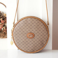 Gucci Bag Vintage Monogram Brown Round Shoulder Handbag Purse Authentic