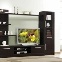 A.M.B. Furniture & Design :: Living room furniture :: Entertainment centers :: 3 pc espresso finish wood modern styling TV entertainment center wall unit
